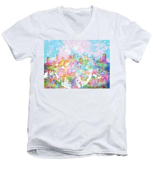 Nashville Skyline Watercolor 8 Men's V-Neck T-Shirt