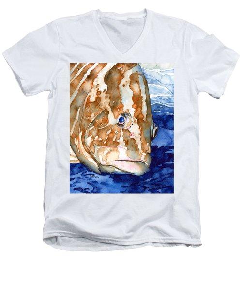 Nassau Grouper Portrait Men's V-Neck T-Shirt