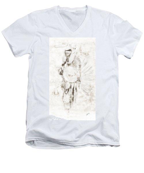 Men's V-Neck T-Shirt featuring the digital art Native American by Erika Weber