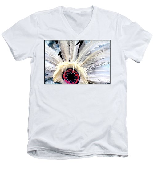 Native American White Feathers Headdress Men's V-Neck T-Shirt