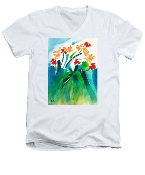 Men's V-Neck T-Shirt featuring the painting Natures Bouquet Abstract by Frank Bright