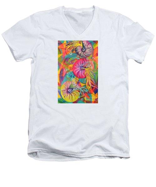 Nautilus Men's V-Neck T-Shirt by Lyn Olsen