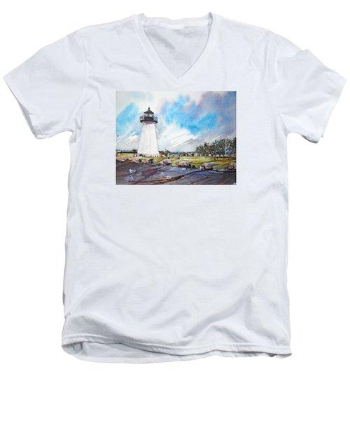 Ned's Point Light Men's V-Neck T-Shirt by P Anthony Visco
