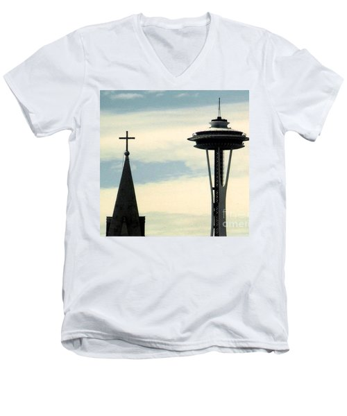 Men's V-Neck T-Shirt featuring the photograph Seattle Washington Space  Needle Steeple And Cross by Michael Hoard