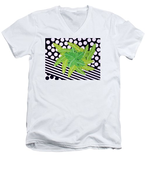Negative Green Men's V-Neck T-Shirt by Thomas Gronowski