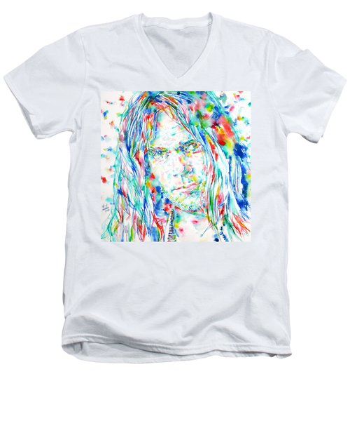 Neil Young - Watercolor Portrait Men's V-Neck T-Shirt