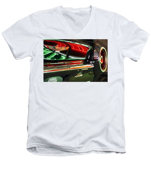 Men's V-Neck T-Shirt featuring the photograph Neon Reflections by Shoal Hollingsworth