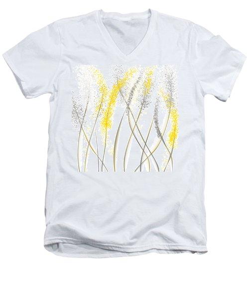 Neutral Sunshine - Yellow And Gray Modern Art Men's V-Neck T-Shirt