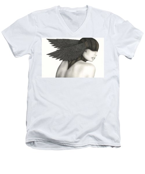 Men's V-Neck T-Shirt featuring the painting Nevermore by Pat Erickson