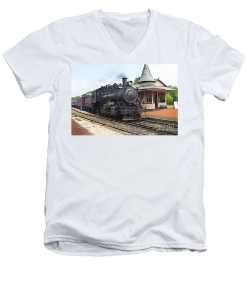 New Hope Station Men's V-Neck T-Shirt by Paul W Faust -  Impressions of Light