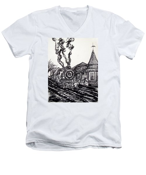 New Hope Train Station Sketch Men's V-Neck T-Shirt