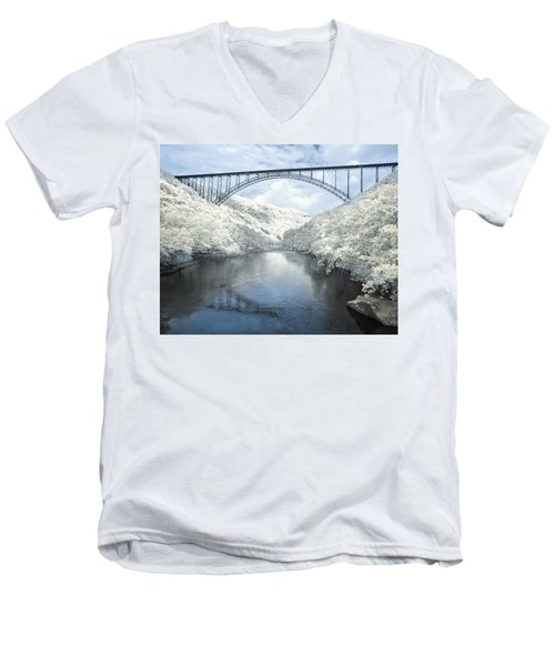 New River Gorge Bridge In Infrared Men's V-Neck T-Shirt