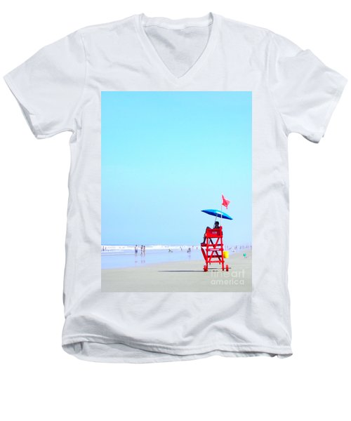 Men's V-Neck T-Shirt featuring the digital art New Smyrna Lifeguard by Valerie Reeves