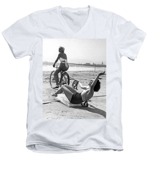 New Sport Of Ice Planing Men's V-Neck T-Shirt by Underwood Archives
