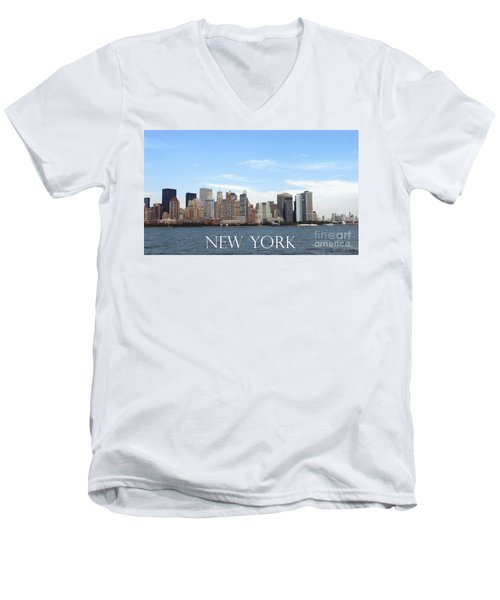 Men's V-Neck T-Shirt featuring the photograph New York As I Saw It In 2008 by Ausra Huntington nee Paulauskaite
