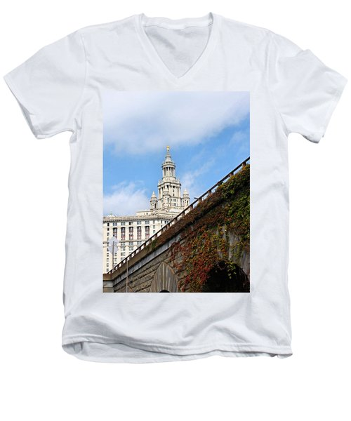 Men's V-Neck T-Shirt featuring the photograph New York City Hall by Kristin Elmquist