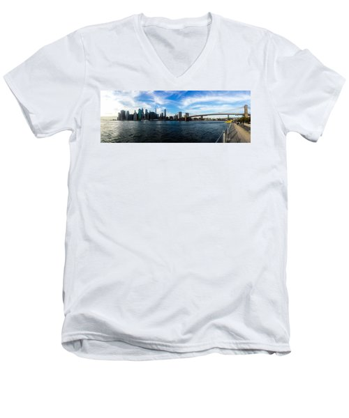 New York Skyline - Color Men's V-Neck T-Shirt by Nicklas Gustafsson