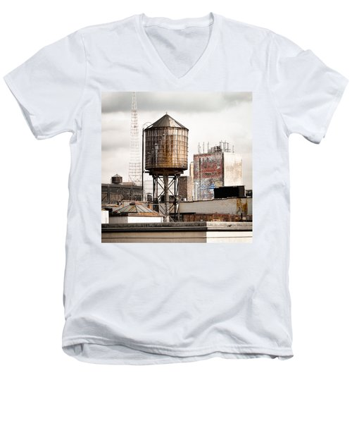 Men's V-Neck T-Shirt featuring the photograph New York Water Tower 16 by Gary Heller