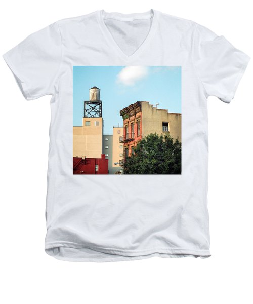 Men's V-Neck T-Shirt featuring the photograph New York Water Tower 3 by Gary Heller