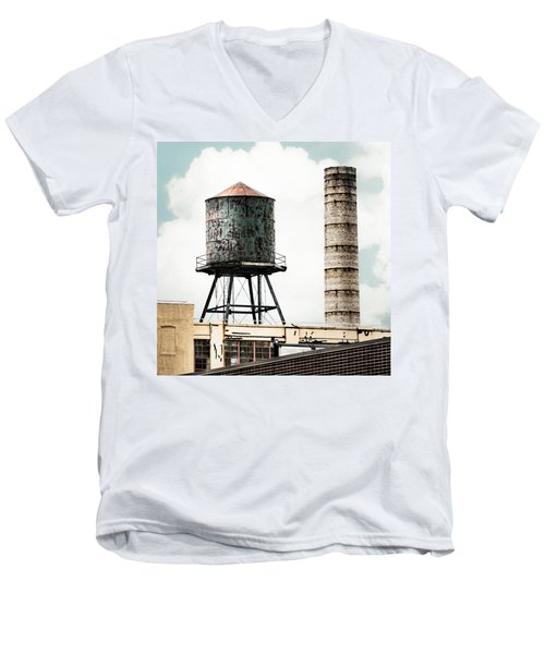 Men's V-Neck T-Shirt featuring the photograph Water Tower And Smokestack In Brooklyn New York - New York Water Tower 12 by Gary Heller