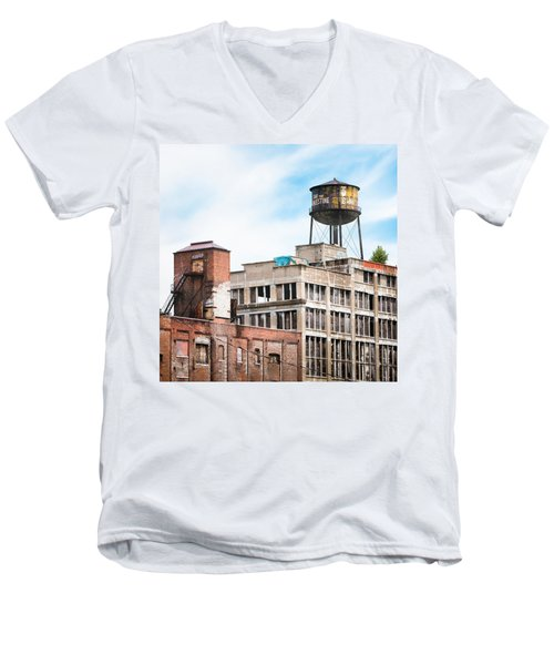 Men's V-Neck T-Shirt featuring the photograph New York Water Towers 18 - Greenpoint Water Tower by Gary Heller