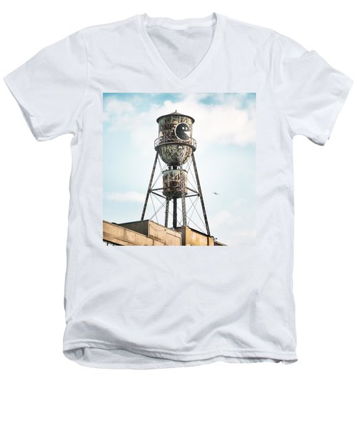 Men's V-Neck T-Shirt featuring the photograph New York Water Towers 9 - Bed Stuy Brooklyn by Gary Heller