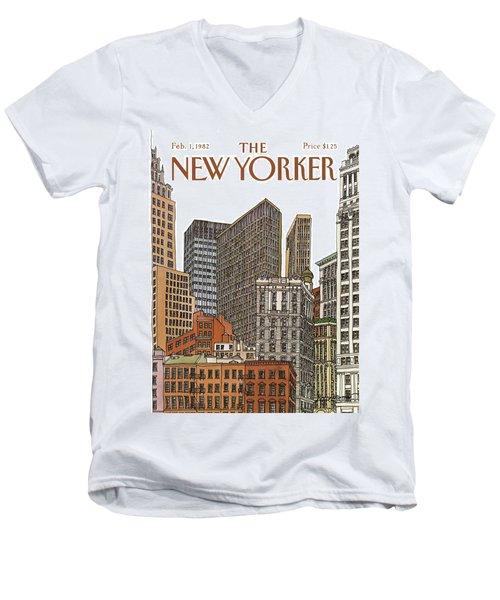 New Yorker February 1st, 1982 Men's V-Neck T-Shirt