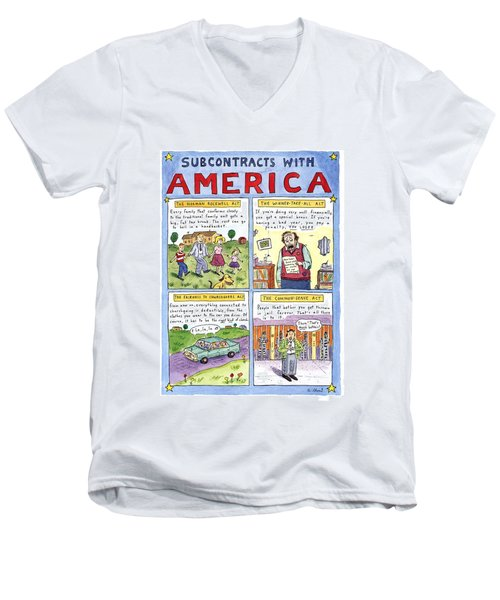 New Yorker January 16th, 1995 Men's V-Neck T-Shirt by Roz Chast