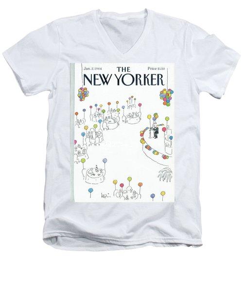 New Yorker January 2nd, 1984 Men's V-Neck T-Shirt