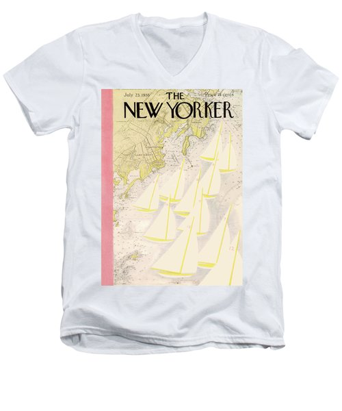 New Yorker July 23rd, 1938 Men's V-Neck T-Shirt