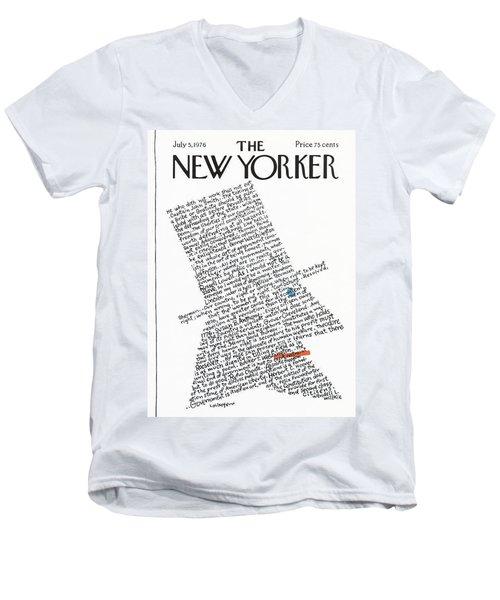New Yorker July 5th, 1976 Men's V-Neck T-Shirt