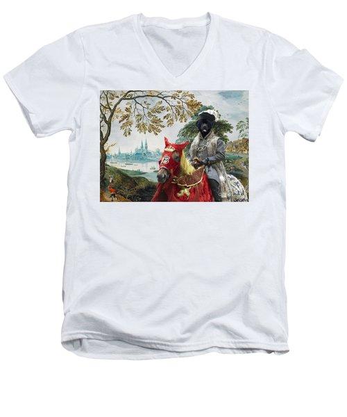 Newfoundland Art - Pasague With Duke Men's V-Neck T-Shirt