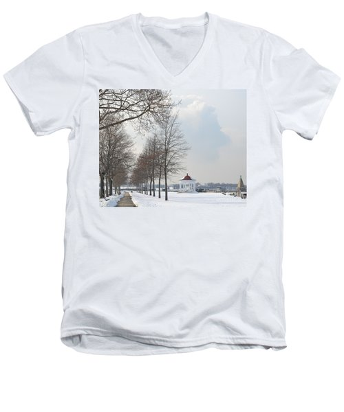 Men's V-Neck T-Shirt featuring the photograph Newport Waterfront by Angela DeFrias