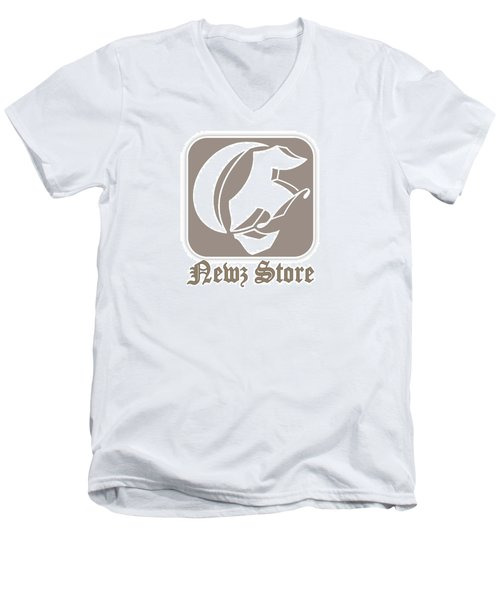 Men's V-Neck T-Shirt featuring the drawing Eclipse Newspaper Store Logo by Dawn Sperry
