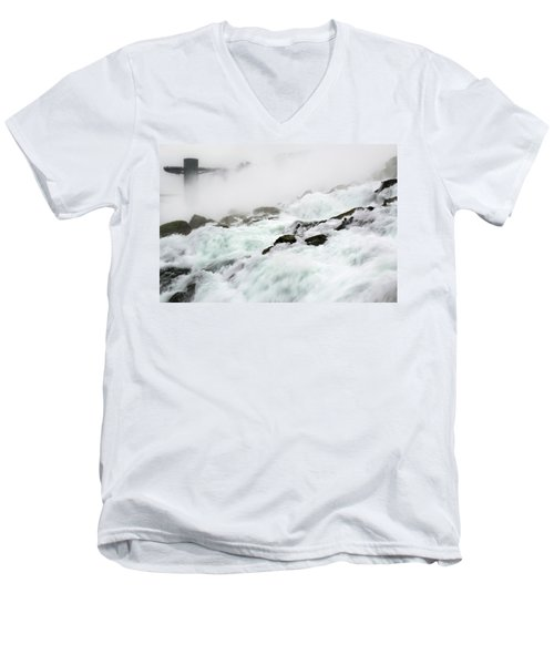 Niagara Falls With Observation Tower Behind Men's V-Neck T-Shirt