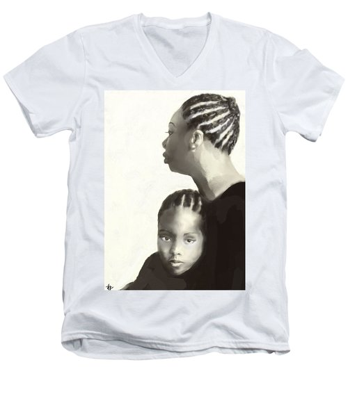 Men's V-Neck T-Shirt featuring the drawing Nina And Lisa Simone by Vannetta Ferguson