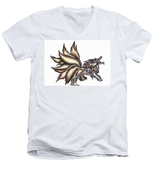 Nine Tails Wolf Demon Men's V-Neck T-Shirt