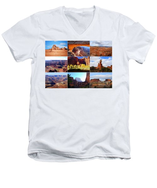 Nine Utah Landmarks Men's V-Neck T-Shirt by Catherine Sherman
