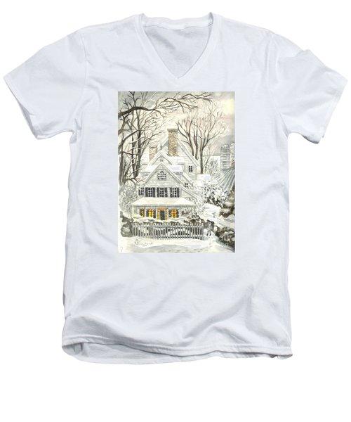 No Place Like Home For The Holidays Men's V-Neck T-Shirt by Carol Wisniewski