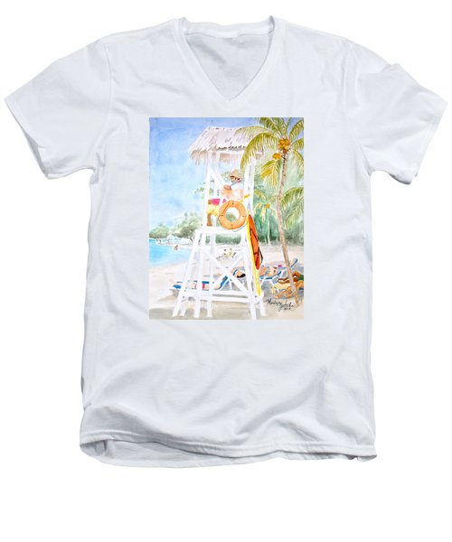 Men's V-Neck T-Shirt featuring the painting No Problem In Jamaica Mon by Marilyn Zalatan