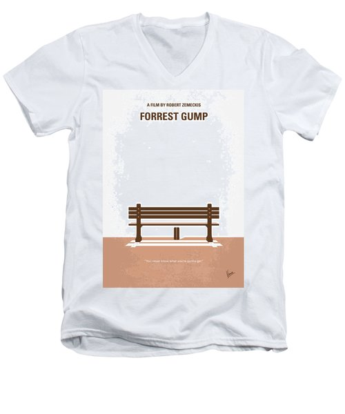 No193 My Forrest Gump Minimal Movie Poster Men's V-Neck T-Shirt by Chungkong Art