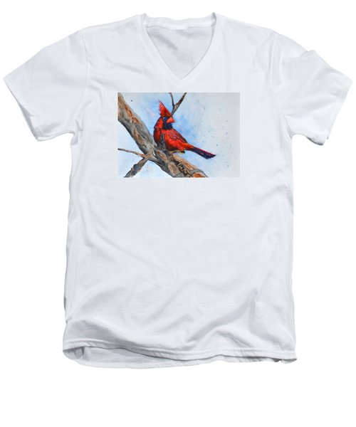 Men's V-Neck T-Shirt featuring the painting Noble Overseer by Beverley Harper Tinsley