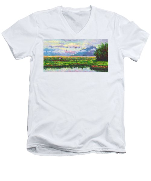 Nomad - Alaska Landscape With Joe Redington's Boat In Knik Alaska Men's V-Neck T-Shirt