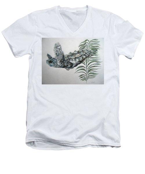 Men's V-Neck T-Shirt featuring the drawing Norman Blue by Mayhem Mediums
