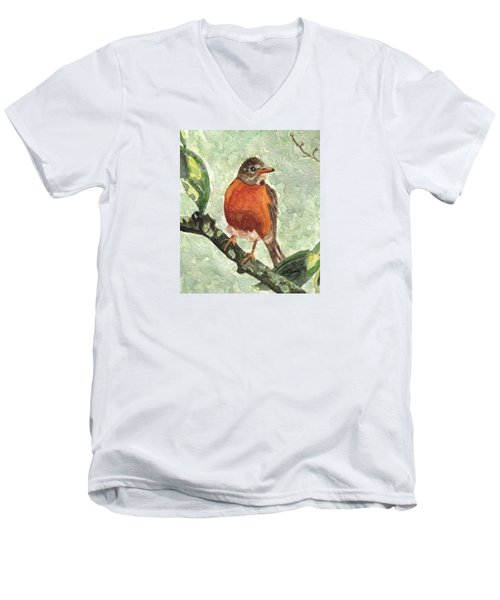 Men's V-Neck T-Shirt featuring the painting North American Robin by Angela Davies