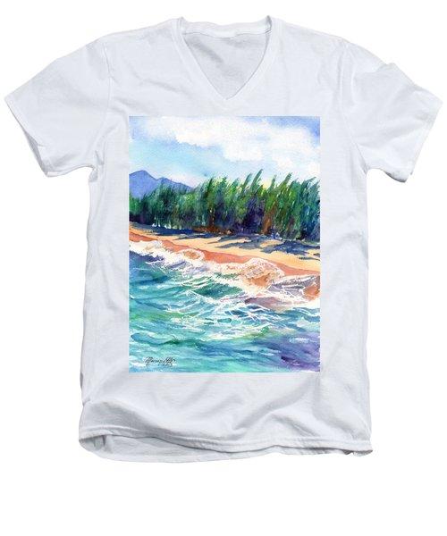 North Shore Beach 2 Men's V-Neck T-Shirt by Marionette Taboniar