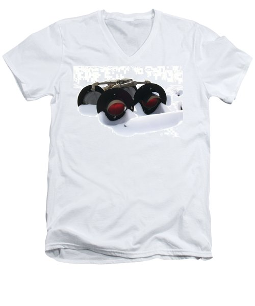 Men's V-Neck T-Shirt featuring the photograph Nothin But Lights by Sara  Raber