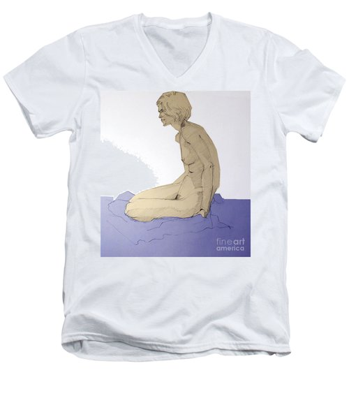 Men's V-Neck T-Shirt featuring the drawing Nude Figure In Blue by Greta Corens