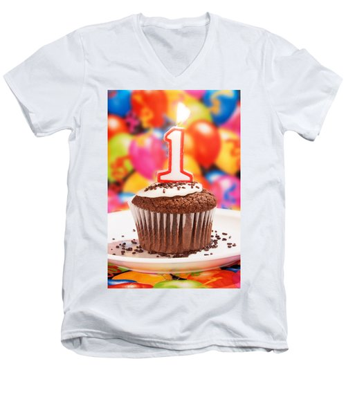 Men's V-Neck T-Shirt featuring the photograph Chocolate Cupcake With One Burning Candle by Vizual Studio