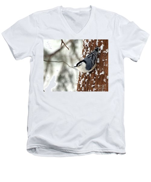 Men's V-Neck T-Shirt featuring the photograph Nuthatch In Snow Storm by Paula Guttilla
